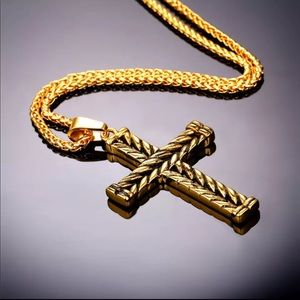 Other - New 18k gold plated cross necklace for men